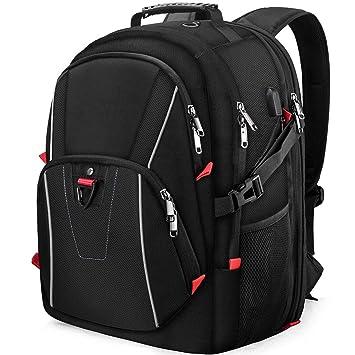 Mochila Portátil Hombre 17,3 Pulgadas Mochilas de Viaje Impermeable USB Puerto Escolare Negocios Trabajo Deporte Casual Mochila para Ordenador Negro: ...