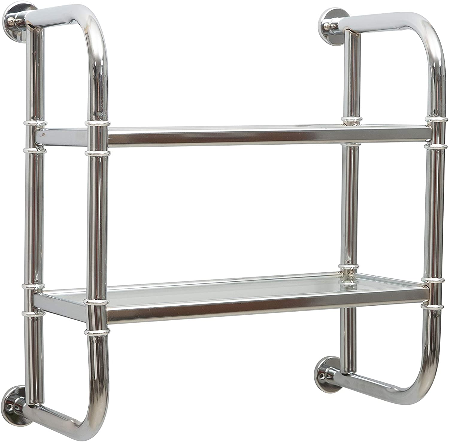 Amazon Com Organize It All 2 Tier Chrome Pipe Mounted Tempered Glass Bathroom Storage Shelf Home Kitchen