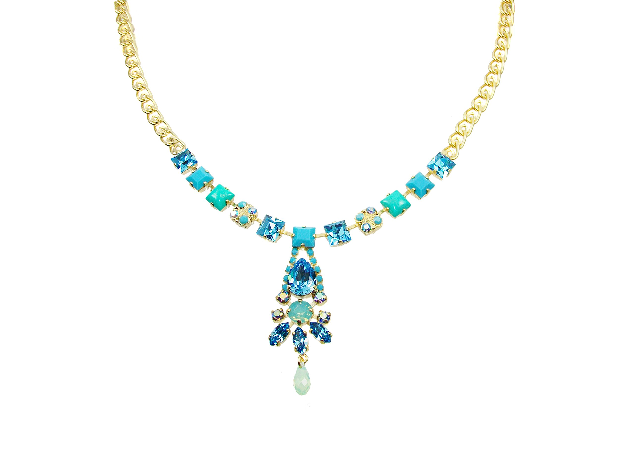 Mariana ''Cindy'' Antique Gold Plated Y Style Necklace with Swarovski Crystals, 18'' by Mariana