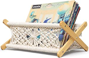 "Mkono Macrame Vinyl Record Storage Holder Boho Home Decor Magazine Storage Basket Woven Modern Vinyl Record Album Organized Display Rack Wood Stand, Living Room, Bedroom, 14.5"" L×10.5"" W×7"" H"