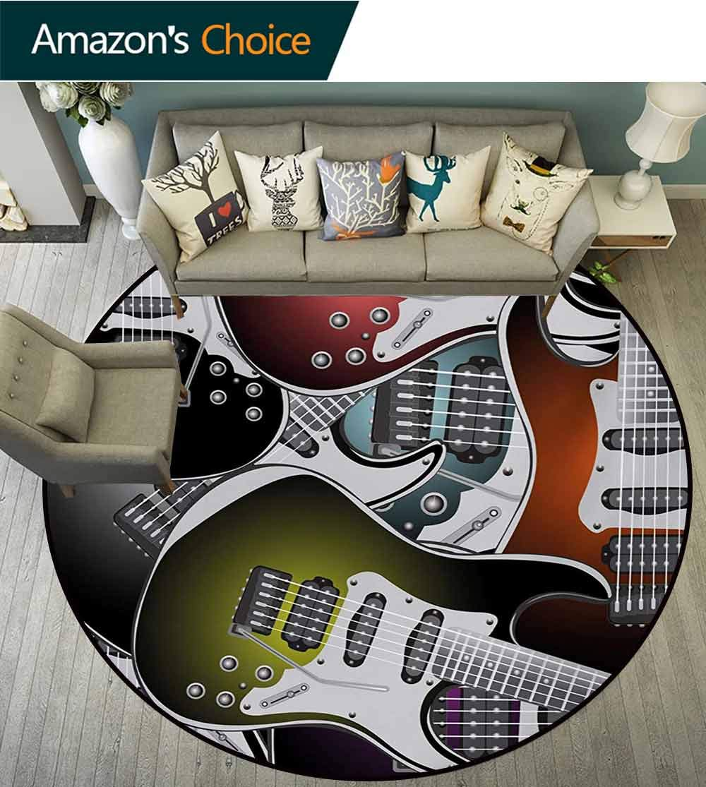 Popstar Party Art Deco Pattern Non-Slip Backing Machine Washable Round Area Rug,Pile of Graphic Colorful Electric Guitars Rock Music Stringed Instruments Floor Mat Home Decor,Diameter-47 Inch by RUGSMAT (Image #3)