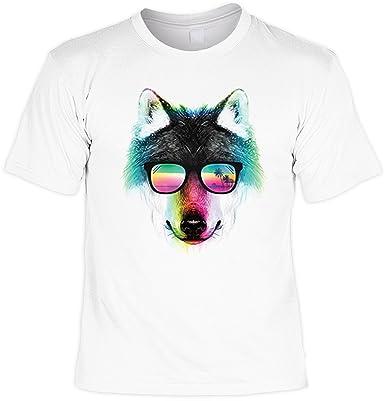 T-Shirt mit buntem Tier Motiv - Summer Wolf - Wolf mit Sonnenbrille -  Geschenk für alle Tierliebhaber - weiss: Amazon.de: Bekleidung