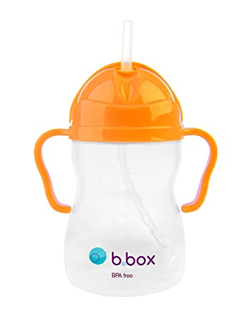 b box Sippy Cup with Innovative Weighted Straw | Easy-Grip Handles | Color:  Neon Orange Zing | 8 oz  |