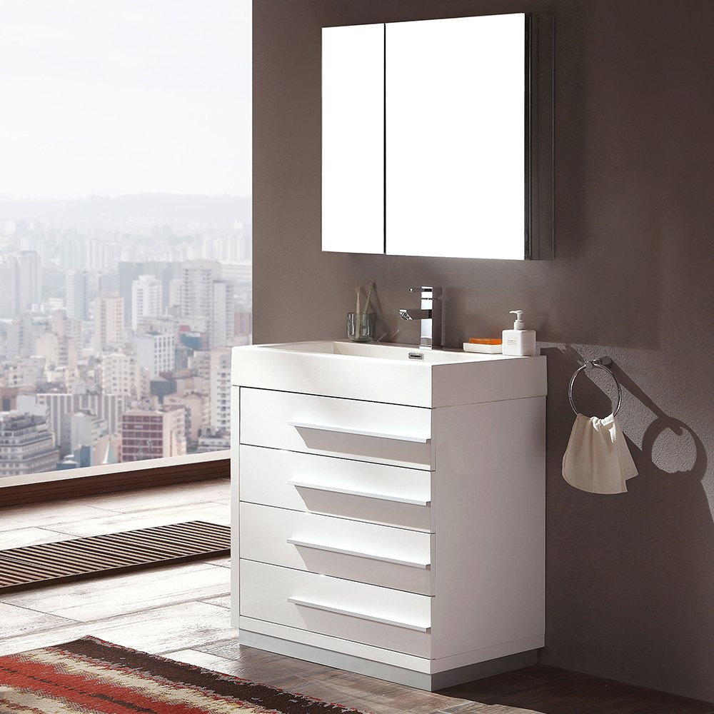 Fresca FVN8030WH-FFT9161CH Livello Modern Bathroom Vanity with ...
