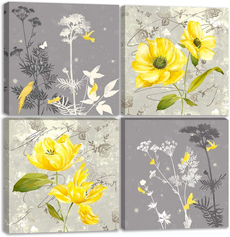 """Yellow Flower Wall Art Yellow and Gray Grey Flowers Print Canvas Home Decor Decals Pictures 4 Panels Poster for Bedroom Living Room Office Painting Photo Framed Ready to Hang (12""""x12""""x4pcs, 11)"""