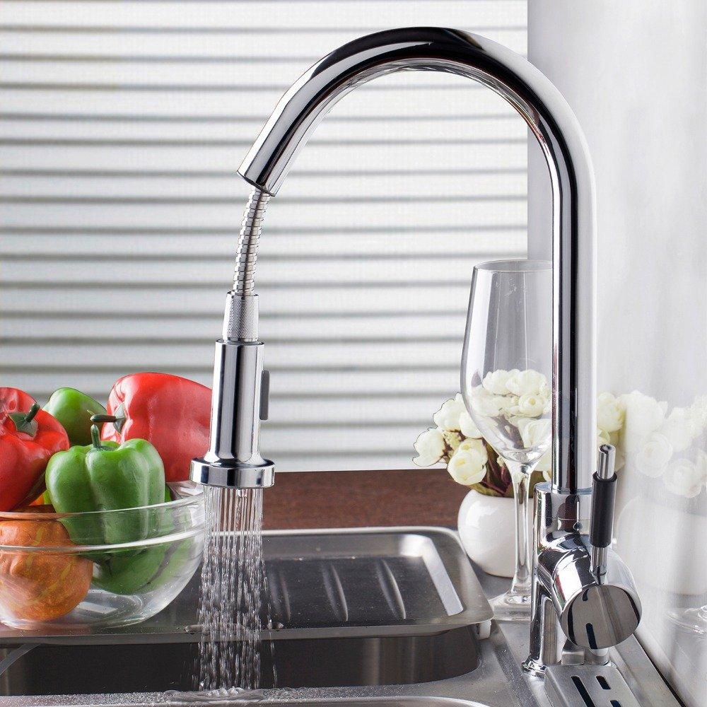 CZOOR De Luxus neue Herausziehen Küche Wasserhahn Deck Mount Küche Waschbecken Wasser Küchenarmatur mit heißem und kaltem Wasser gedreht Wasserhahn