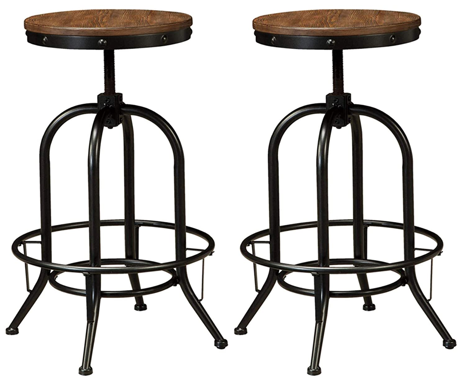 Ashley Furniture Signature Design – Pinnadel Bar Stool – Pub Height – Set of 2 – Rustic Brown
