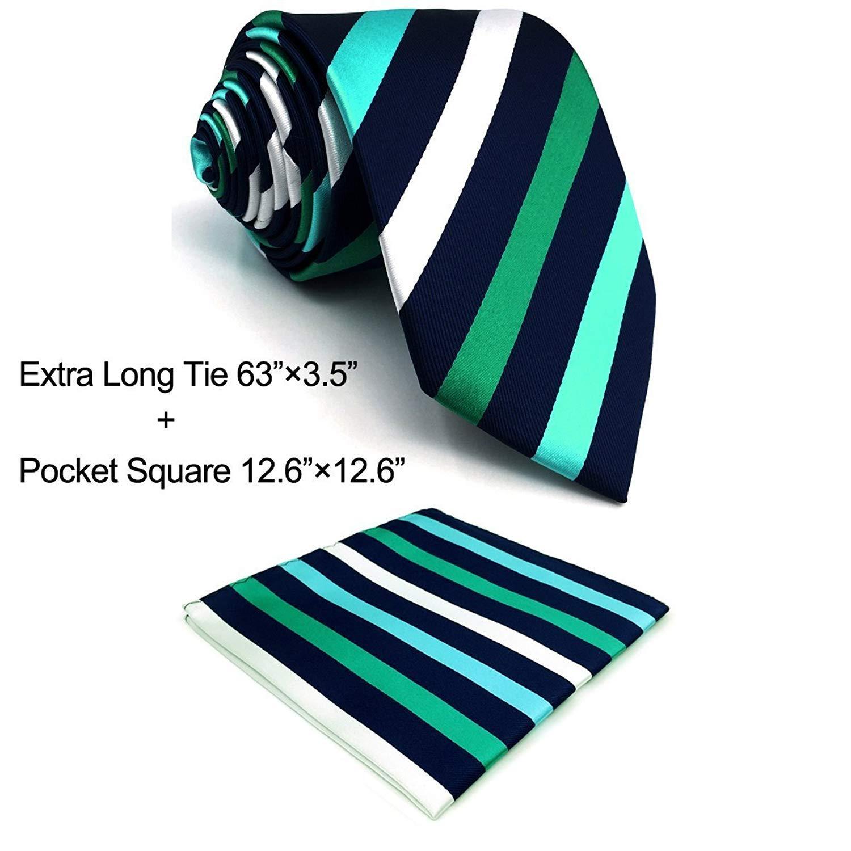 SHLAX& WING Stripes Blue Green Necktie for Men Tie Set Business Suit Jacket S&W SHLAX&WING E35-H