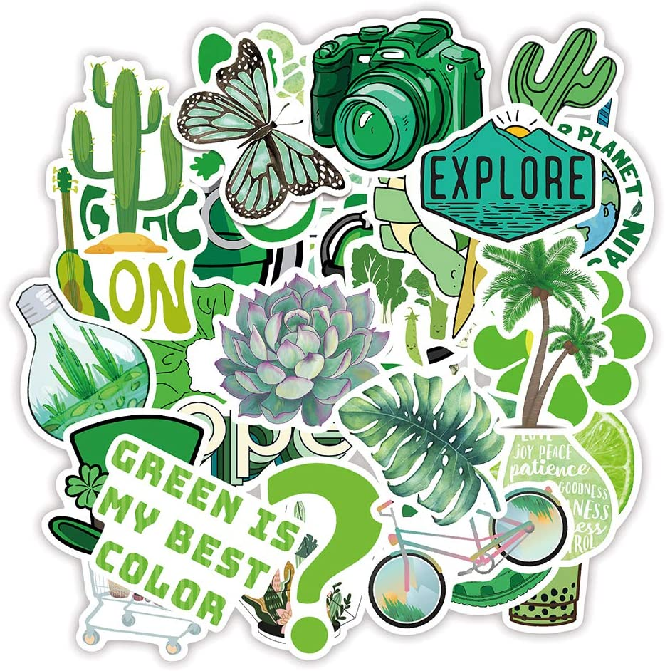 50pcs Cute Green Summer Stickers Waterproof Vinyl Stickers Water Bottle Sticker, Kids Teens Adults Stickers Decals for Laptop Computer Travel Case Skateboard