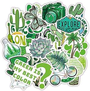 50pcs Cute Green Summer Stickers Waterproof Vinyl Stickers Water Bottle Sticker, Kids Teens Adults Stickers Decals for Laptop Computer Travel Case Skateboard