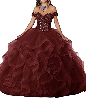5d013e79d Graceprom Women s Off Shoulder Beaded Quinceanera Dresses Ruffles Prom Ball  Gown Sweet 16 Dress at Amazon Women s Clothing store