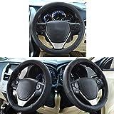 Oshotto Leather Steering Cover For Maruti Suzuki A-Star/Celerio/Ritz/Wagonr/S-Cross/Ertiga - Dark Black