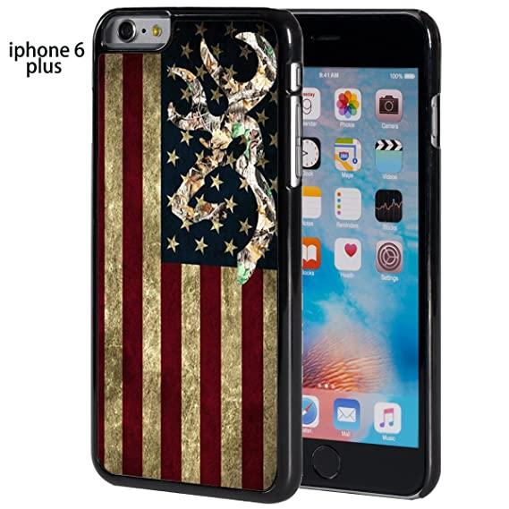 online store 79cda 005ea Browning Deer Camo American Flag iPhone 6 Plus/6s Plus Case (Black Rubber)