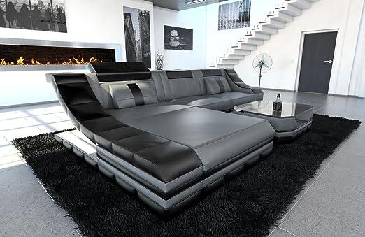 Divano In Pelle Grigio.Sofa Dreams Divano In Pelle Turino Forma L Colore Grigio Nero