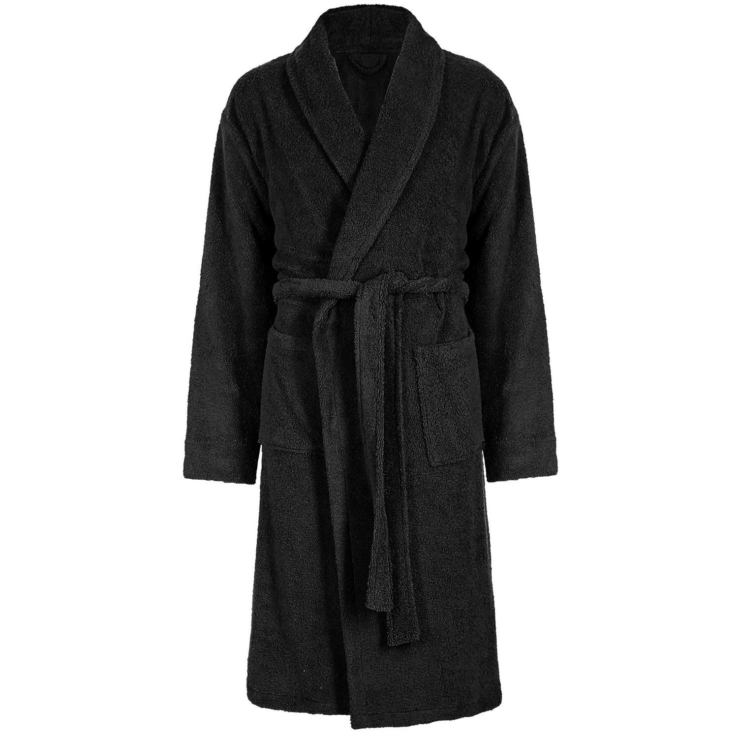 Mens Ladies 100% Cotton Terry Towelling Bath Robe + Matching Belt - Black Free Post
