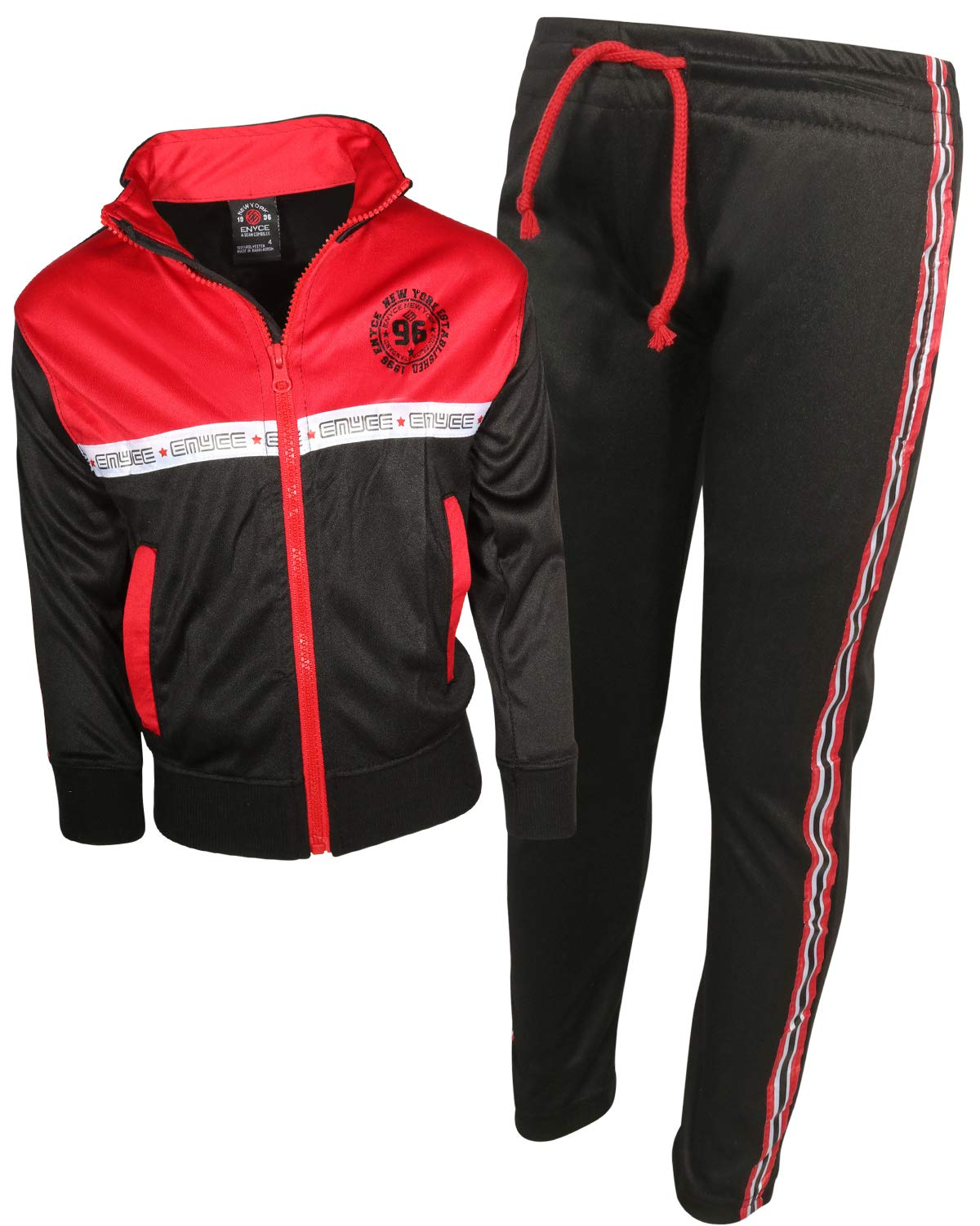 Enyce Boys Activewear 2 Piece Performance Tracksuit Set with Long Sleeve Top and Pants, Black/Red Side Taping, Size 12/14'