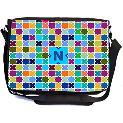 Rikki Knight Letter N Monogram Vibrant Sky Blue Edgy Mosaic Design Design Multifunctional Messenger Bag - School Bag - Laptop Bag - Includes Matching Compact Mirror