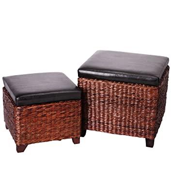 Eshow Foot Stool Storage Ottoman Bench 2 Piece Leather Cube Storage Stool  Rattan Bulrush Upholstery