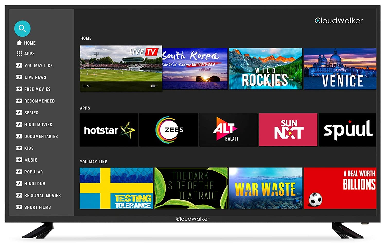 4K Ultra HD CloudWalker (55 inches) Smart LED TV HDR Cloud X2 55SUX2