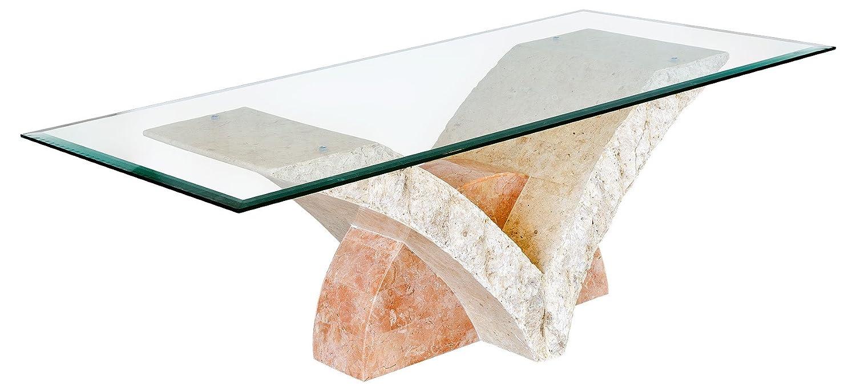 Uranie Coffee Table With Fine Mactan Stone Base And Tempered Glass Top:  Amazon.co.uk: Kitchen U0026 Home