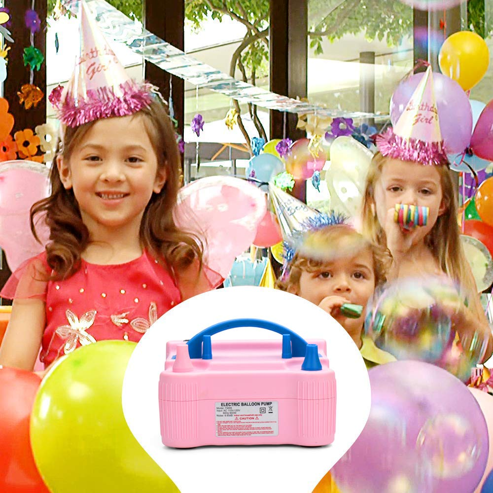 Pink MESHA Portable Dual Nozzle Electric Air Balloon Pump Filler rInflator//Blower for Party Decoration 110V 600W Air Pump