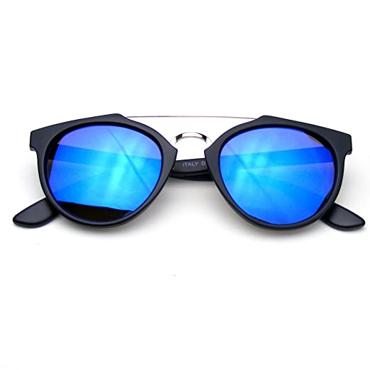 6424e06556 Vintage Inspired Dapper Cross Bar Flash Mirror Lens Sunglasses (Blue)
