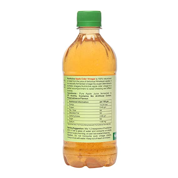 NutrActive Filtered Apple Cider Vinegar | 100% Natural, 500 ml: Amazon.in:  Health & Personal Care