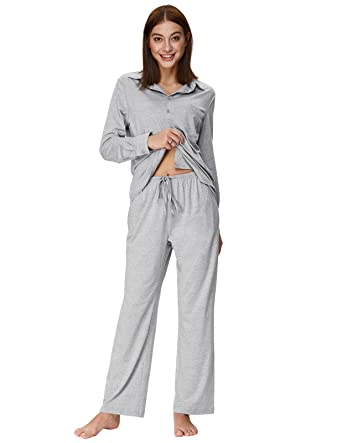 b8b409b28e Zexxxy Women Solid Color Loungewear Long Sleeve Shirt with Side Pockets  Gray S