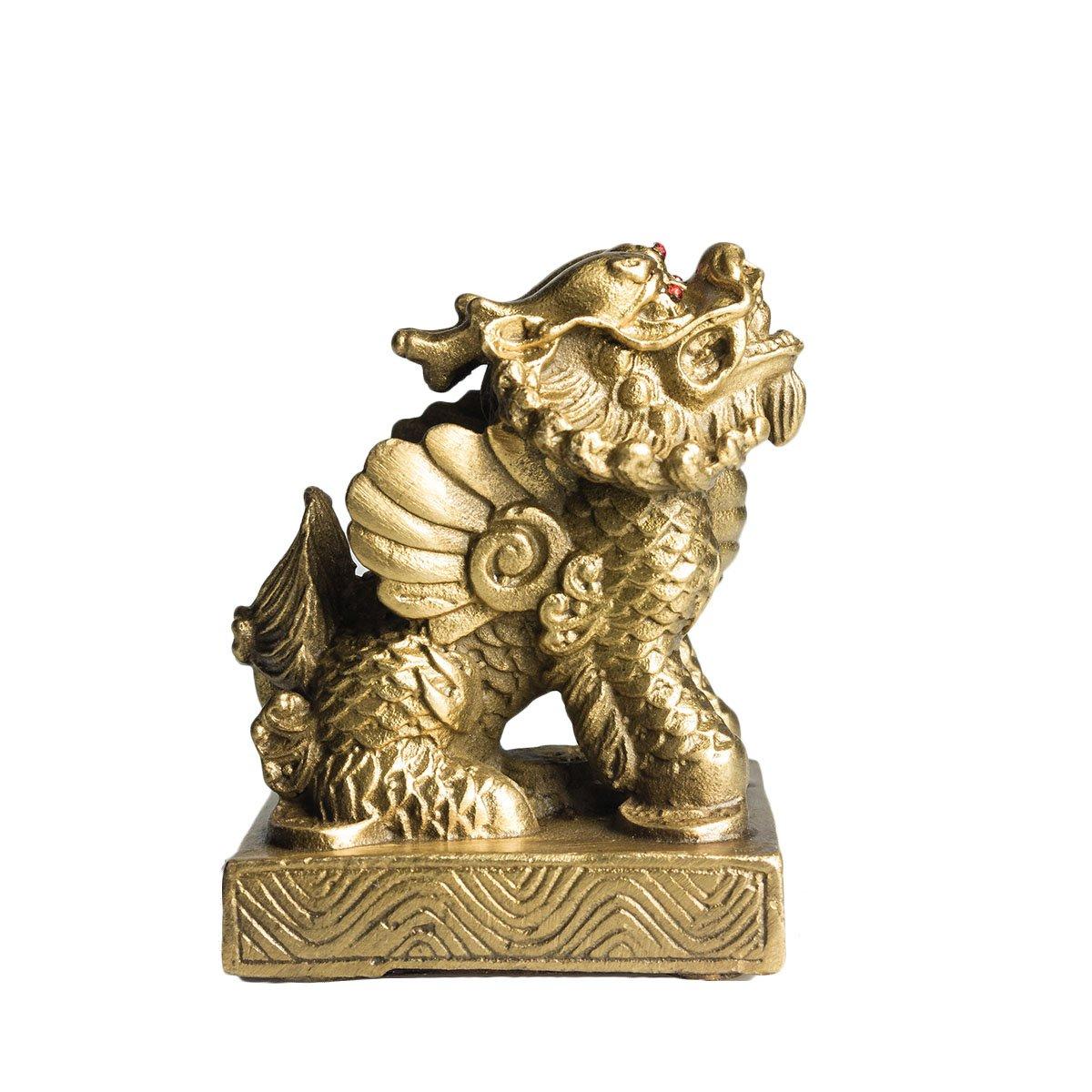Tres Ojos Unicorn cobre mítico Wild Animal latón Feng Shui tesoro Pixiu hogar decoración, latón, dorado, 3: Amazon.es: Hogar
