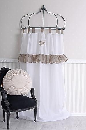 Gardine Vorhang Landhausstil Schlaufenvorhang Vintage Schlaufenschal Dekoschal
