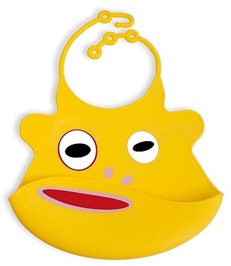 Neon Kids 1600088 - Babero de silicona con recogemigas, color amarillo