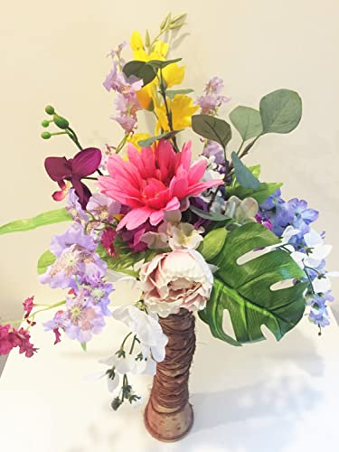 Amazon Faux Peony Succulent And Orchid Floral Arrangement
