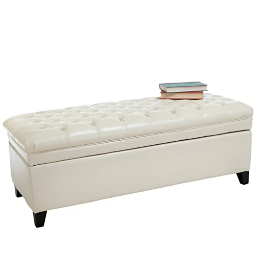 Christopher Knight Home Barton Tufted Ivory Leather Storage Ottoman