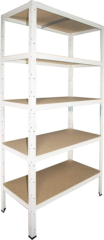 shelfplaza/® HOME /Étag/ère charge lourde m/étallique blanc de 180x120x40 cm avec 5 tablettes entrep/ôts garage grenier atelier maison