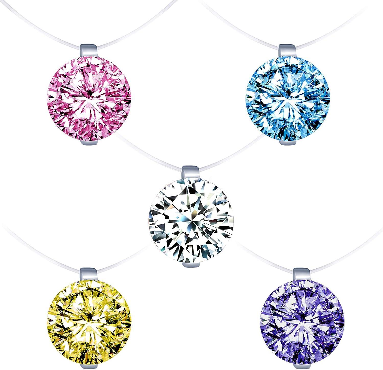 Collares Mujer Infinito U Collares Invisible Colgantes de Diamantes Colores, en Plata de Ley 925 Cadena Transparente con Colgantes,Idea Regalo para Mujeres Chicas