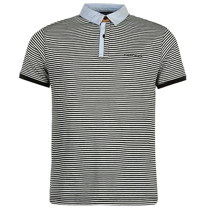 Pierre Cardin Polo Premium Para Hombre con Panel de Corte y Costura Collar Texturizado de Costilla y Bordado Exclusivo QBJaVWm