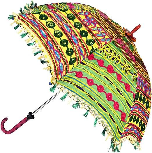 De la mano abierta de algodón bordado paraguas sombrilla del sol del verano 6...: Amazon.es: Hogar