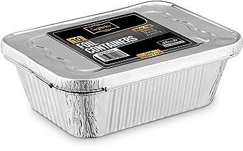 Recipientes desechables de aluminio con tapa de aluminio de 2400 ml Ideales como bandeja para el horno y para guardar alimentos (5 unidades), aluminio, ...