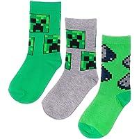 Vanilla Underground Calcetines de Minecraft Surtido enredadera Diseño 3 Pack Boy en verde y gris
