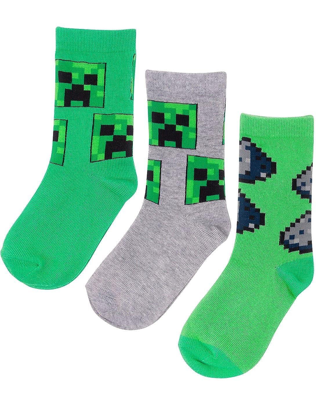 Vanilla Underground Minecraft Assorted 3 Pack Boys Socks