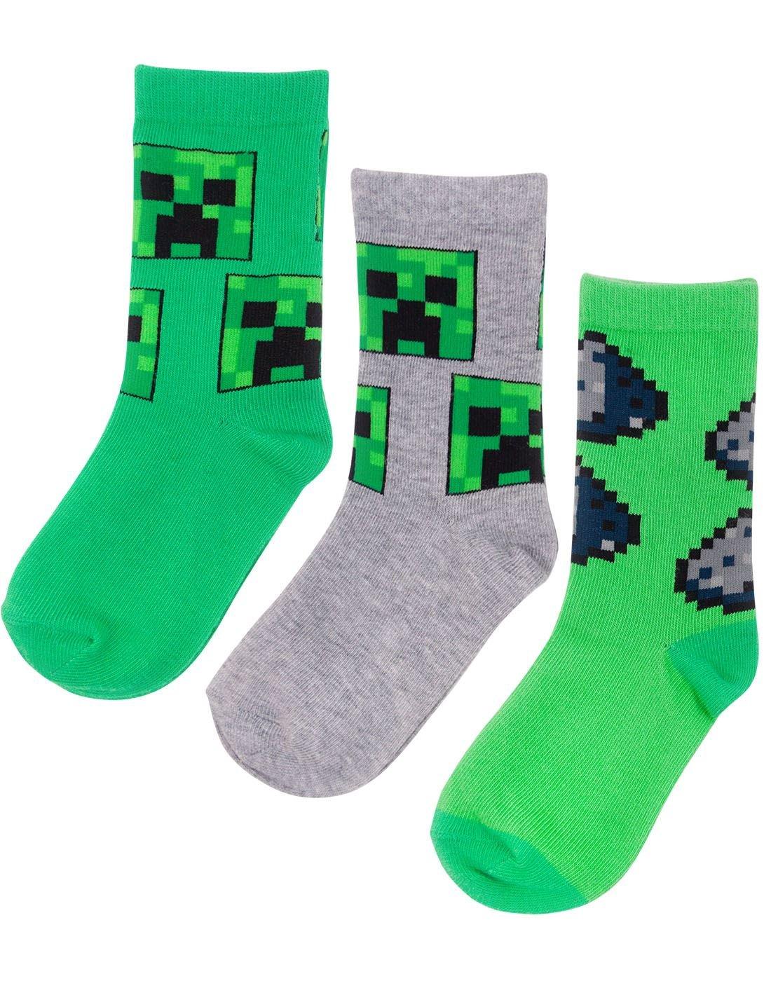 Minecraft Creeper Boy/'s Green Slipper Socks Sizes from 11 UK Kids to 3 UK
