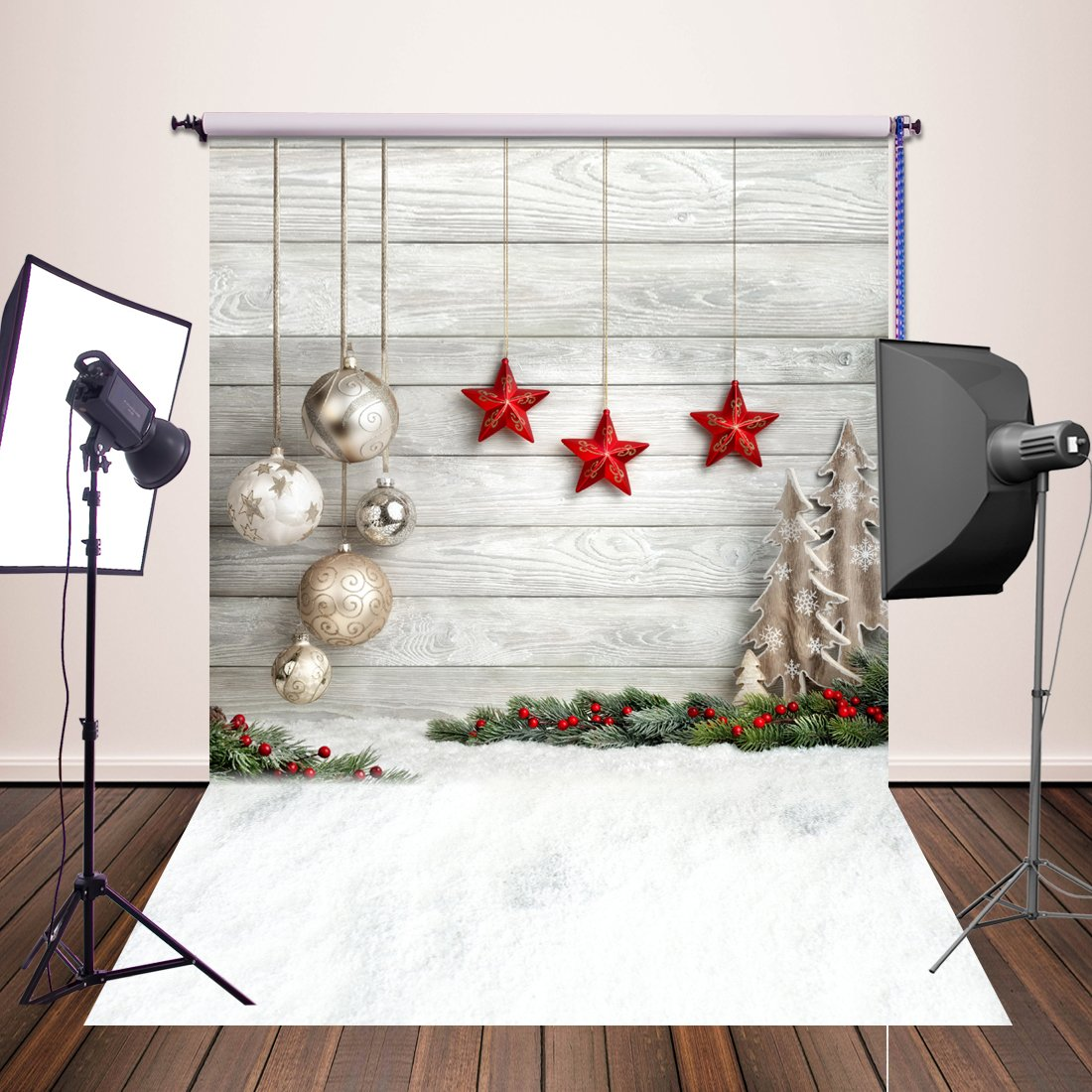 Huayi 5x7ft photography backdrops christmas starts background newborn photo props yj 345