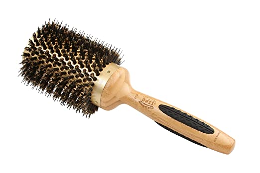 Bass Brushes | Style & Condition Round Hair Brush | 100% Natural Bristle + Nylon Pin | Pure Bamboo Handle | Extra Large Tourmaline Ionic Barrel | Model 208