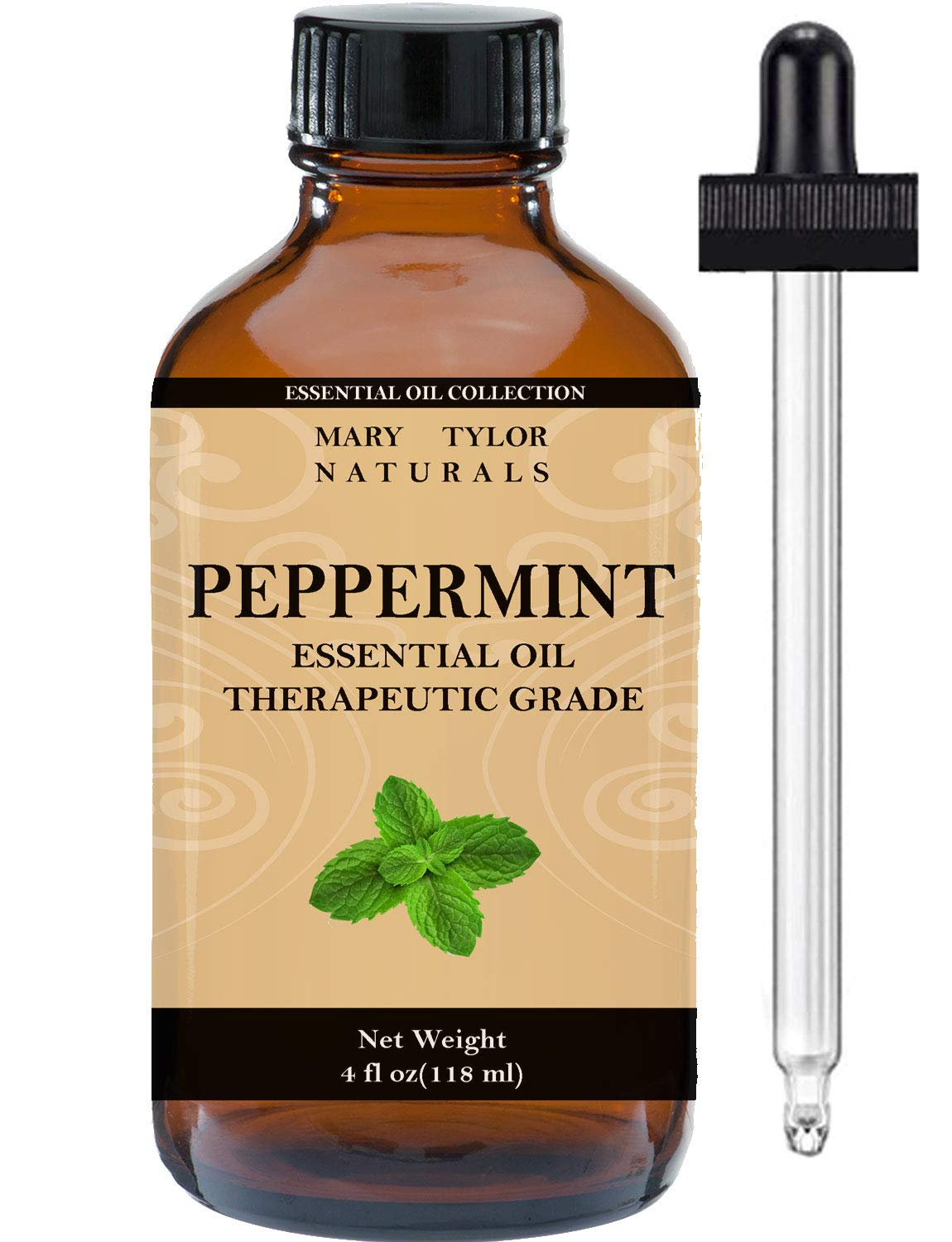 Peppermint Essential Oil 4 oz, by Mary Tylor Naturals, Premium Therapeutic Grade, 100% Pure, Perfect for Aromatherapy, Relaxation, Improved Mood, Repel Mice Pests and Much More EO-2001