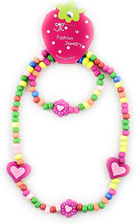 and Circle Beaded Necklace Kids Colorful Heart Hoop
