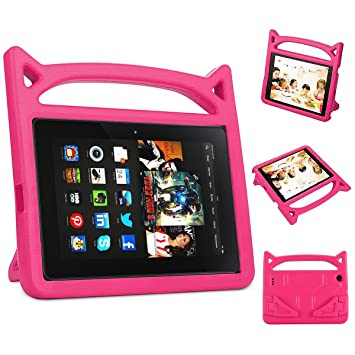 f51eab8bf6e7 Amazon.com: Kindle Fire 7 Case Kids Shock Proof Protective Cover Case for  Amazon Fire 7 Display Tablet Cover(2015&2017 Release) (Rose): Electronics