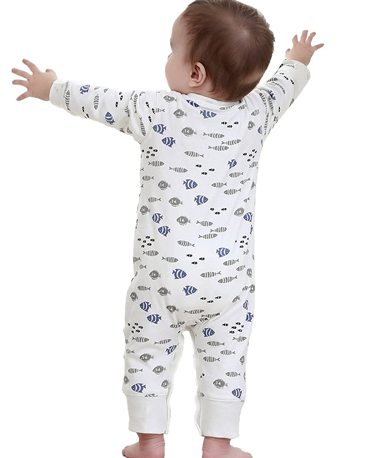 Wennikids Baby Boys and Girls Cotton High Waist Footed Pants Casual Leggings 0-24 Months