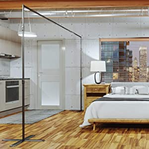 RoomDividersNow End2End Divider Stand - Large - 12ft to 18ft Wide, Black