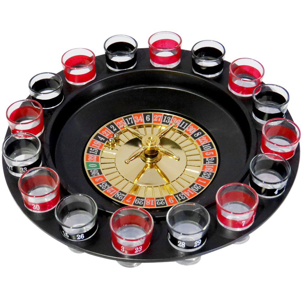Evelots Casino Shot Glass Roulette Drinking Game Set with 16 Shot Glasses