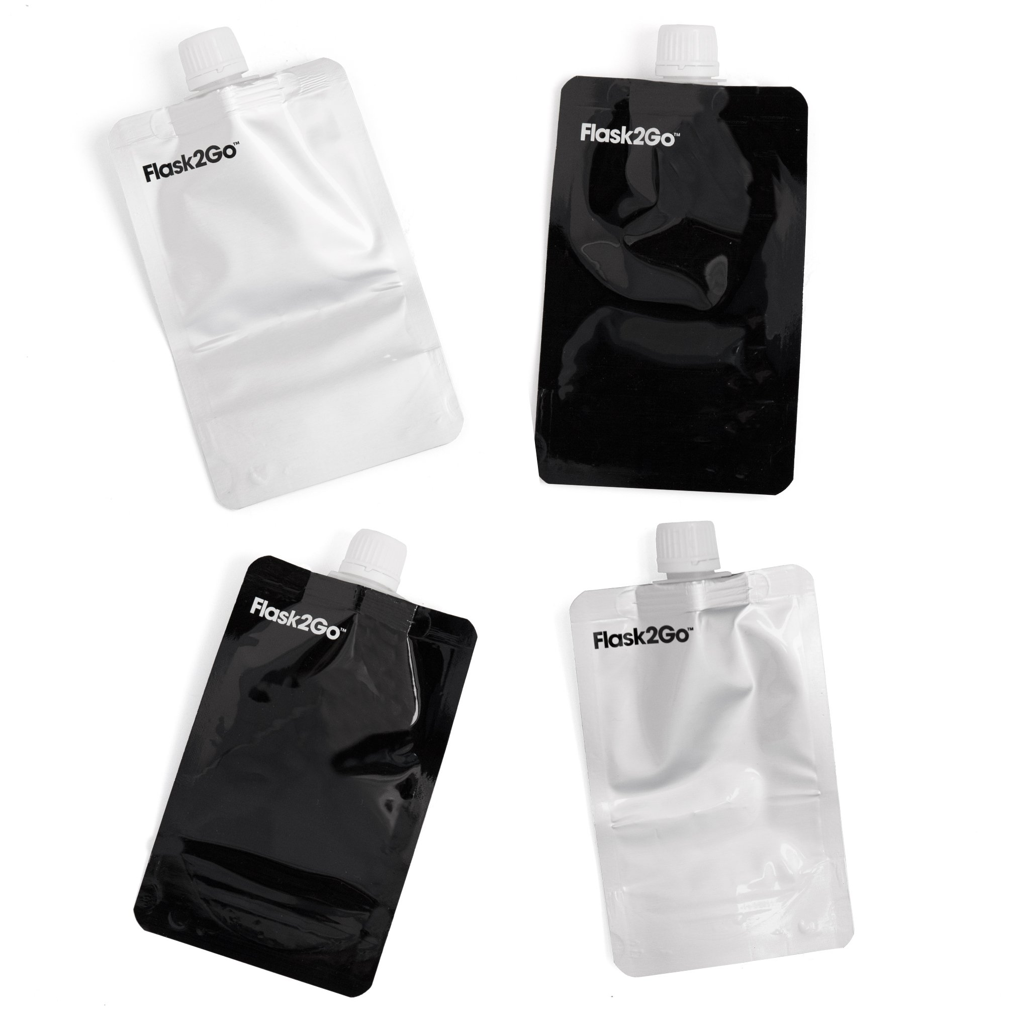 Flask2Go - The Foldable Flask 8oz (4pack) - No Metal Parts! (Black/Silver)